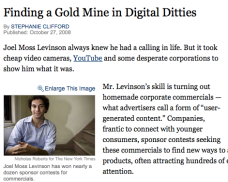 Joel on the front page of the New York Times for his video contest acumen.